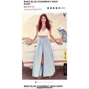 Baez Blue Chambray Maxi Skirt